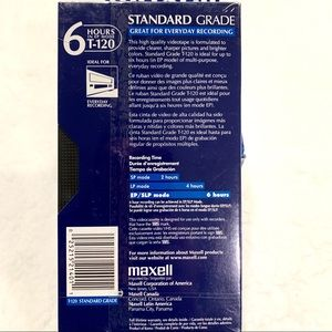 Maxell Other - 💎4:$25 Maxell Standard Grade VHS Tape 6hrs T-120